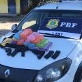 PRF acha fuzil, revólver, munição e cocaína em fundo falso de carro na BR 101