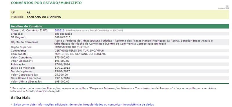Convênio com o Ministério do Turismo foi um dos que tiveram recursos liberados em Santana do Ipanema (Foto: reprodução / Transparência União)