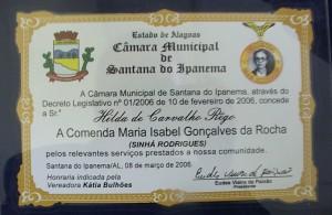 Primeira Comenda Sihá Rodrigues entregue em Santana (Foto: Reprodução / José Malta Fontes)