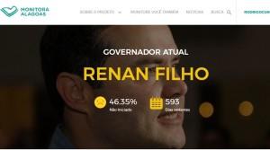 Portal mostra metas propostas pelo governador Renan Filho (Foto: Reprodução)